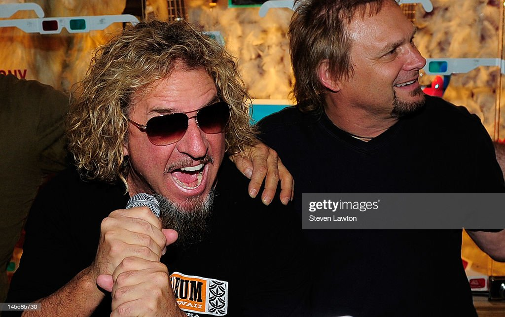 Chickenfoot members <a gi-track='captionPersonalityLinkClicked' href=/galleries/search?phrase=Sammy+Hagar&family=editorial&specificpeople=209168 ng-click='$event.stopPropagation()'>Sammy Hagar</a> and <a gi-track='captionPersonalityLinkClicked' href=/galleries/search?phrase=Michael+Anthony&family=editorial&specificpeople=790579 ng-click='$event.stopPropagation()'>Michael Anthony</a> arrive to open a Chickenfoot dedication case at Hard Rock Hotel and Casino on June 1, 2012 in Las Vegas, Nevada.