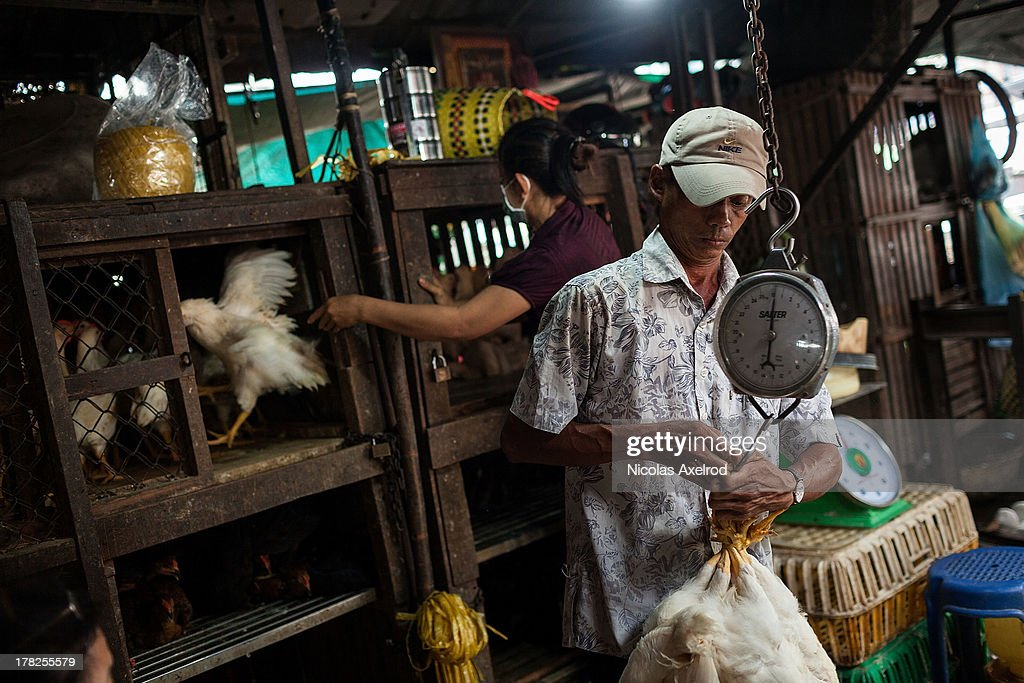 Chickens are sold at the Orussey Market in central Phnom Penh on August 28, 2013 in Phnom Penh, Cambodia. Cambodia has seen the worst out break of Avian influenza H5N1 since the disease was first identified, so far this year 17 cases have been report, 10 of which have been fatal.
