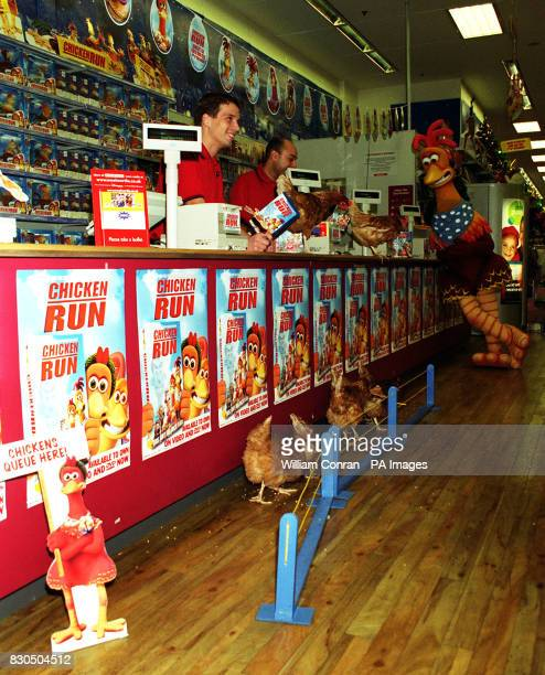 Chickens from Hackney City Farm queueing to buy copies of the film Chicken Run on video and DVD as it is released at Woolworths Edgware Road London