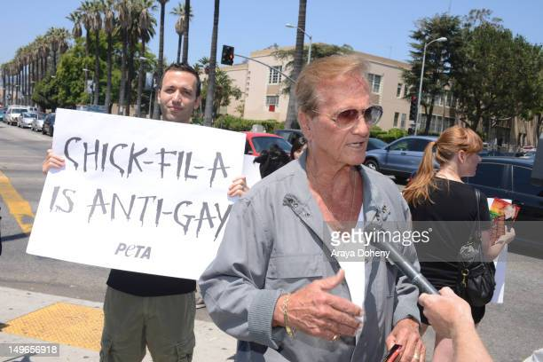 ChickfilA supporter recording artist Pat Boone attends PETA and the LGBT community's 'ChickfilA Is AntiGay' at ChickfilA on August 1 2012 in...