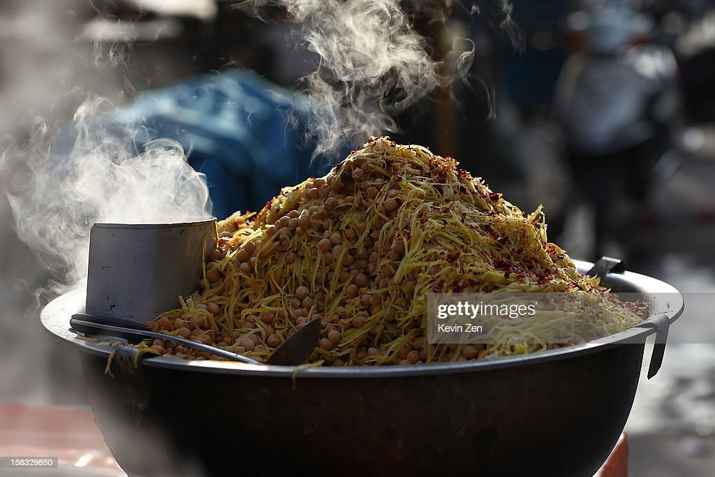 Chickpea snacks on the street waits for customers to visit in Kashgar, on December 10, 2012 in Kashi, China. Kashgar is home to the ethnic Uyghur Muslim community.