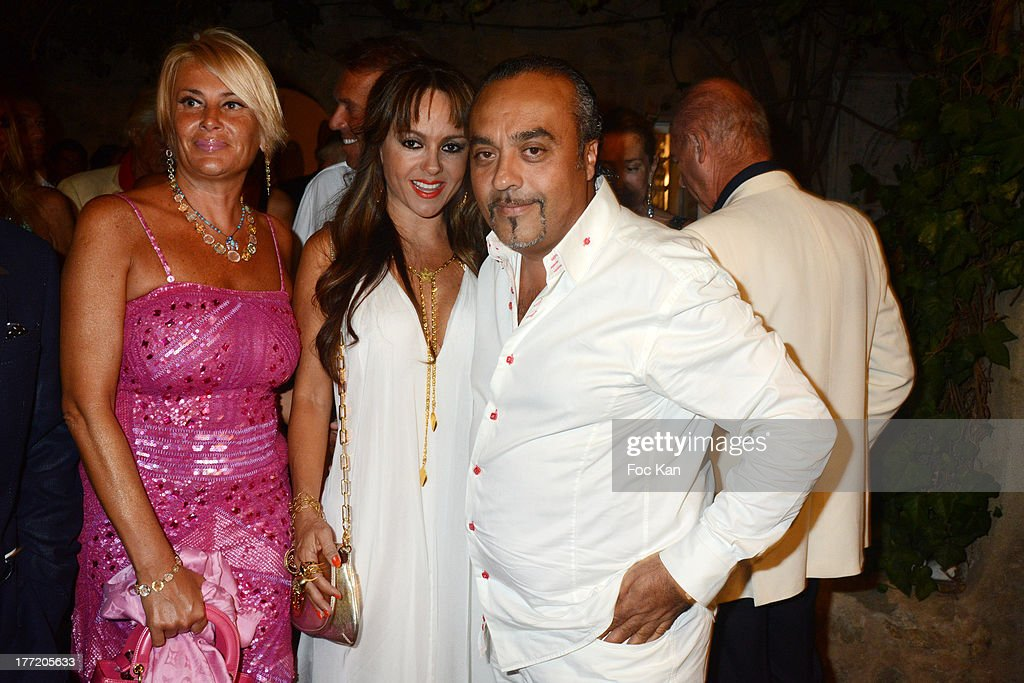Chico Bouchikhi (R) and two guests attend the Massimo Gargia's Birthday Dinner at Moulins de Ramatuelle on August 21, 2013 in Saint Tropez, France.