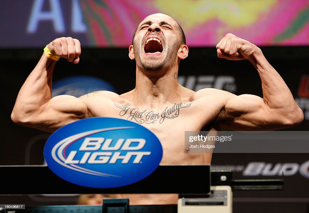 Chico Camus weighs in during the UFC 156 weigh-in on February 1, 2013 at Mandalay Bay Events Center in Las Vegas, Nevada.