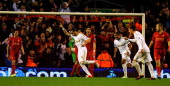 Chico Flores celebrates his goal during the Capital One Cup Fourth Round match between Liverpool and Swansea City at Anfield on October 31 2012 in...