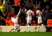 Chico Flores of Swansea celebrates his goal during the Capital One Cup Fourth Round match between Liverpool and Swansea City at Anfield on October 31...