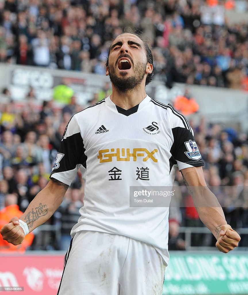 Chico Flores of Swansea City celebrates his goal during the Barclays Premier League match between Swansea City and Sunderland at Liberty Stadium on...