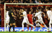 Chico Flores of Swansea City celebrates scoring the opening goal during the Capital One Cup Fourth Round match between Liverpool and Swansea City at...