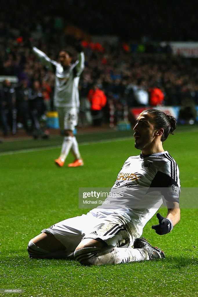 Chico Flores of Swansea City celebrates scoriung his sides second goal during the Barclays Premier League match between Swansea City and Fulham at the Liberty Stadium on January 28, 2014 in Swansea, Wales.