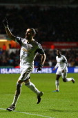 Chico Flores of Swansea City celebrates scoriung his sides second goal during the Barclays Premier League match between Swansea City and Fulham at...