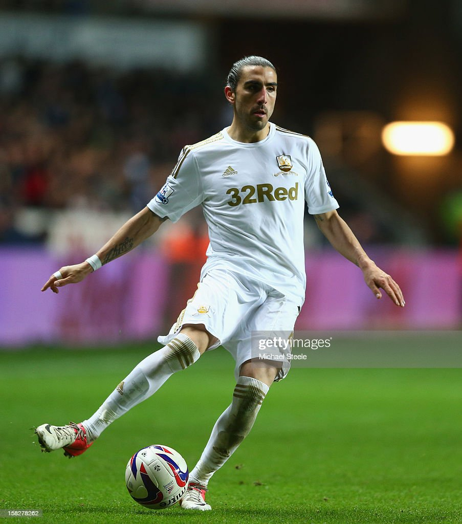 Chico Flores of Swansea City during the Capital One Cup Quarter-Final match between Swansea City and Middlesbrough at the Liberty Stadium on December 12, 2012 in Swansea, Wales.
