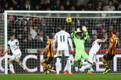 Chico Flores of Swansea City scores his sides equalising goal during the Barclays Premier League match between Swansea City and Hull City at the...