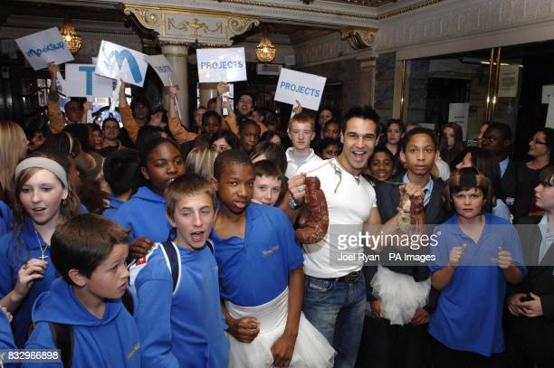 Chico Slimani joins some of the 1500 school children drawn from various London state schools before they watch a special performance of Billy Elliott...