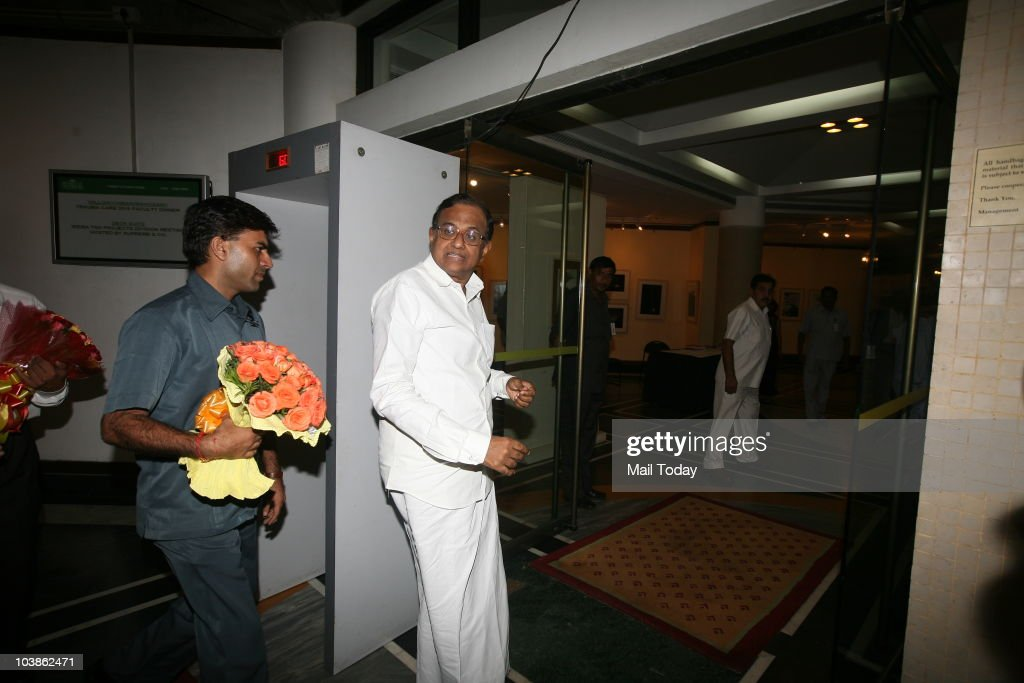 Chidambaram leaves after wishing newly married Congress MP Shashi Tharoor and his wife Sunanda Pushkar at their reception in New Delhi on Friday...
