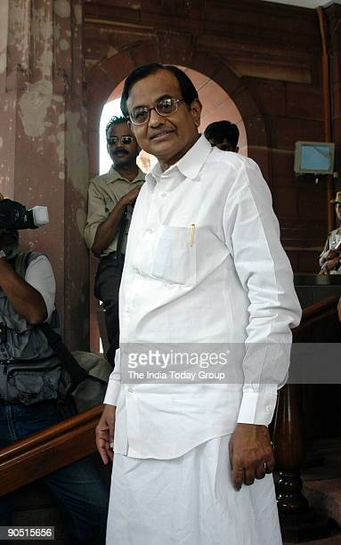 Chidambaram Union Cabinet Minister of finance at Parliament House in New Delhi India