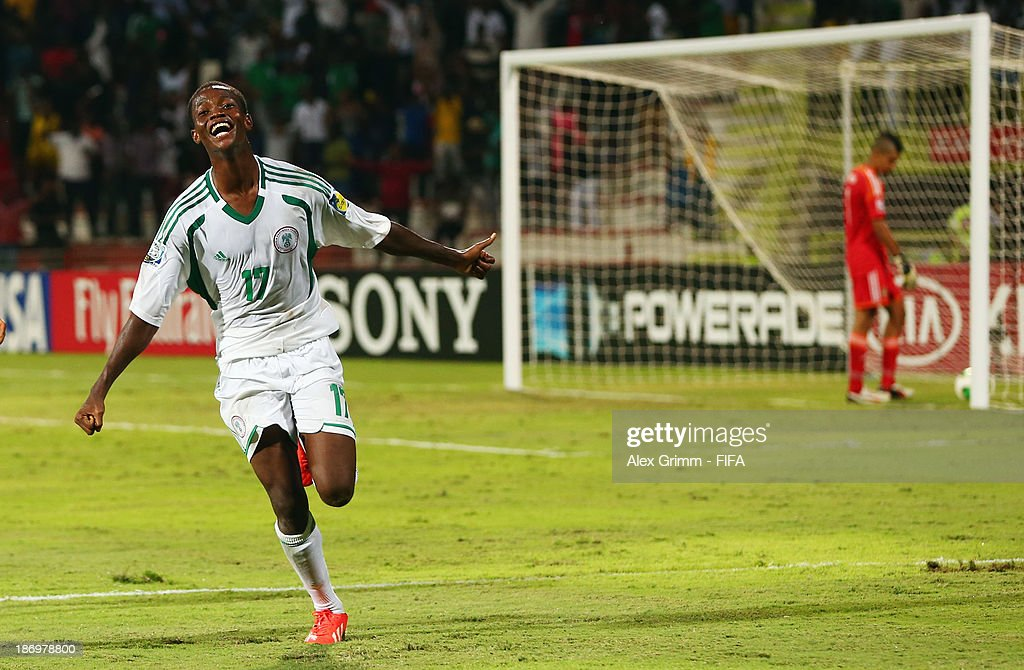 Chidera Ezeh of Nigeria celebrates his team's third goal during the FIFA U-17 World Cup UAE 2013 Semi Final match between Sweden and Nigeria at Al Rashid Stadium on November 5, 2013 in Dubai, United Arab Emirates.