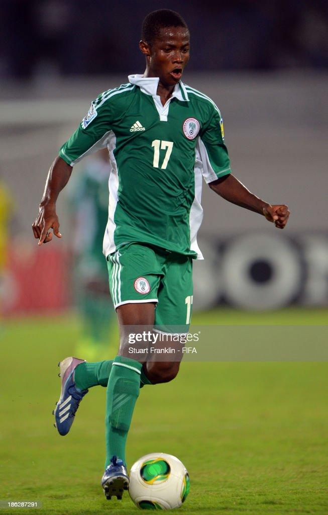 Chidera Ezeh of Nigeria in action during the round of 16 match between Nigeria and Iran at Khalifa Bin Zayed Stadium on October 29, 2013 in Al Ain, United Arab Emirates.