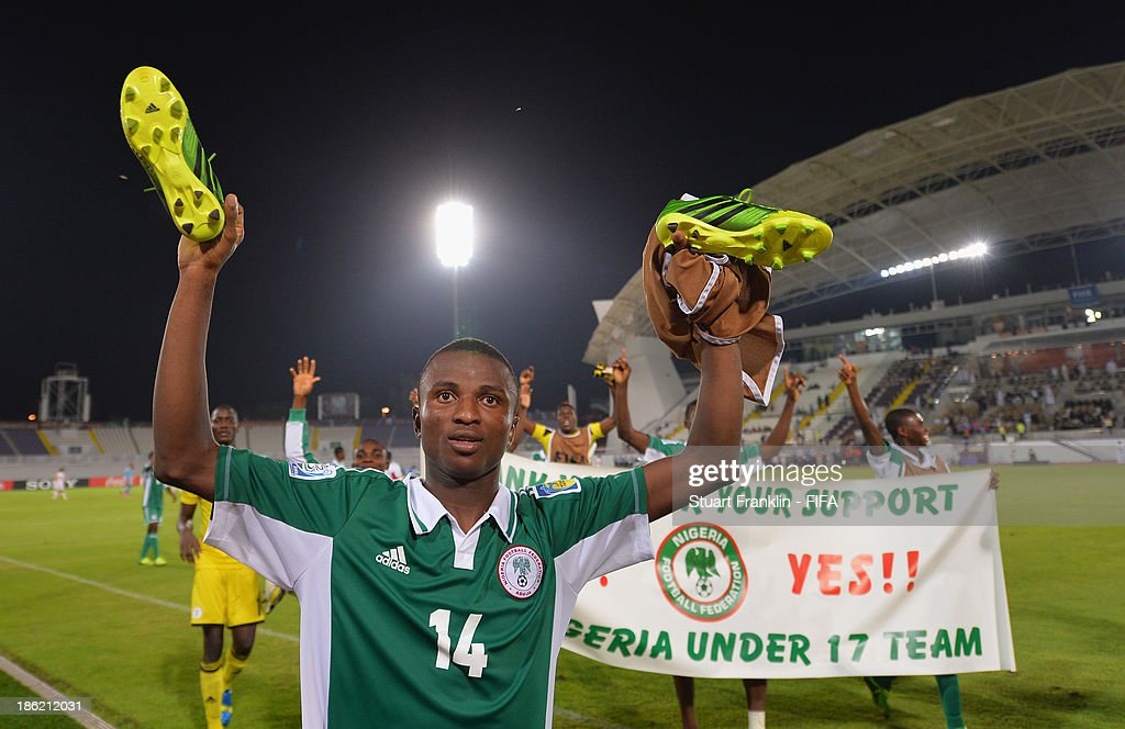 Chidiebere Nwakali of Nigeria celebrates his teams win at the end of the round of 16 match between Nigeria and Iran at Khalifa Bin Zayed Stadium on October 29, 2013 in Al Ain, United Arab Emirates.