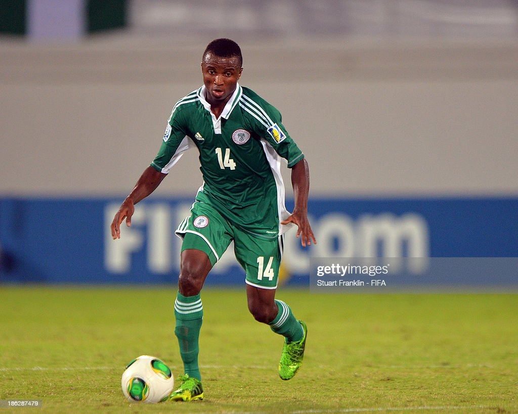 Chidiebere Nwakali of Nigeria in action during the round of 16 match between Nigeria and Iran at Khalifa Bin Zayed Stadium on October 29, 2013 in Al Ain, United Arab Emirates.