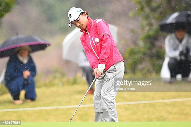 Chie Arimura of Japan chips onto the 1st hole green in the first round of the Studio Alice Open at the Hanayashiki Golf Club Yokawa Course on April...