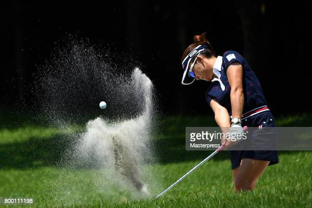 Chie Arimura of Japan chips onto the 3rd green during the second round of the Earth Mondamin Cup at the Camellia Hills Country Club on June 23 2017...