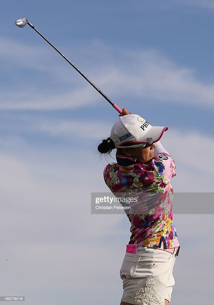 <a gi-track='captionPersonalityLinkClicked' href=/galleries/search?phrase=Chie+Arimura&family=editorial&specificpeople=4607395 ng-click='$event.stopPropagation()'>Chie Arimura</a> of Japan hits a tee shot on the 17th hole during the second round of the RR Donnelley LPGA Founders Cup at Wildfire Golf Club on March 15, 2013 in Phoenix, Arizona.