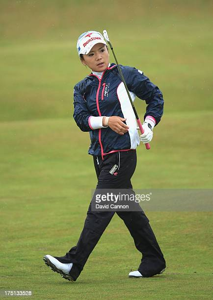 Chie Arimura of Japan hits her 2nd shot on the 4th hole during the first round of the Ricoh Women's British Open at the Old Course St Andrews on...
