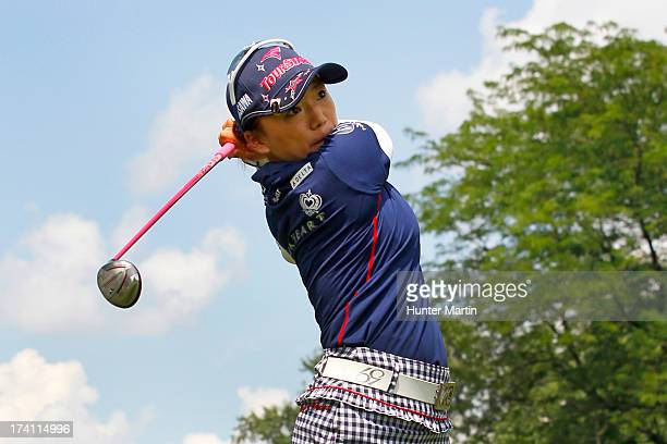 Chie Arimura of Japan hits her second shot on the 17th hole during round three of the Marathon Classic presented by Owens Corning OI on July 20 2013...