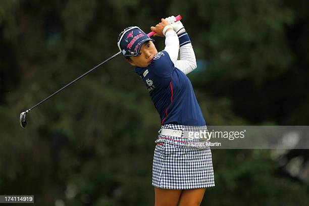 Chie Arimura of Japan hits her tee shot on the 18th hole during round three of the Marathon Classic presented by Owens Corning OI on July 20 2013 in...