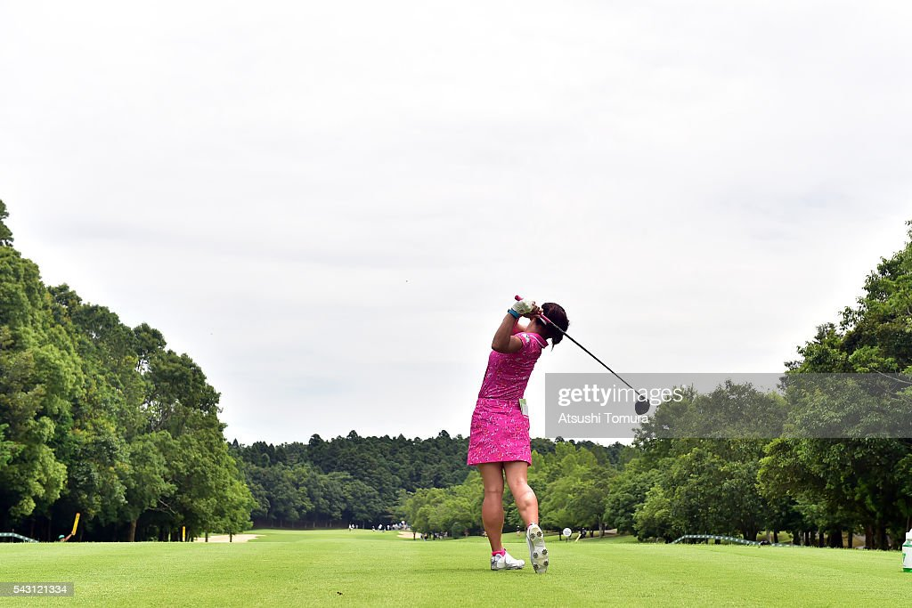 <a gi-track='captionPersonalityLinkClicked' href=/galleries/search?phrase=Chie+Arimura&family=editorial&specificpeople=4607395 ng-click='$event.stopPropagation()'>Chie Arimura</a> of Japan hits her tee shot on the 3rd hole during the final round of the Earth Mondamin Cup at the Camellia Hills Country Club on June 25, 2016 in Sodegaura, Japan.