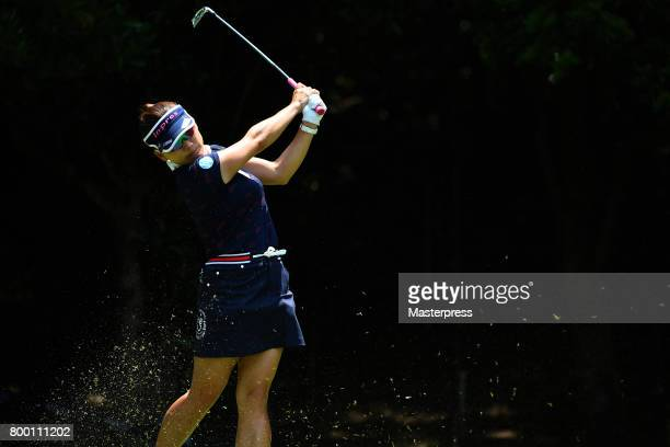 Chie Arimura of Japan hits her tee shot on the 4th hole during the second round of the Earth Mondamin Cup at the Camellia Hills Country Club on June...