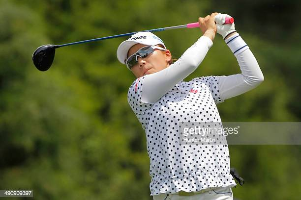 Chie Arimura of Japan hits her tee shot on the ninth hole during the first round of the Kingsmill Championship presented by JTBC on the River Course...