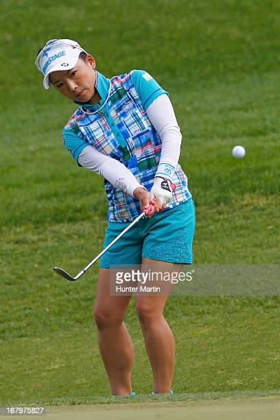 Chie Arimura of Japan hits her third shot on the eighth hole during the second round of the Kingsmill Championship at Kingsmill Resort on May 3 2013...
