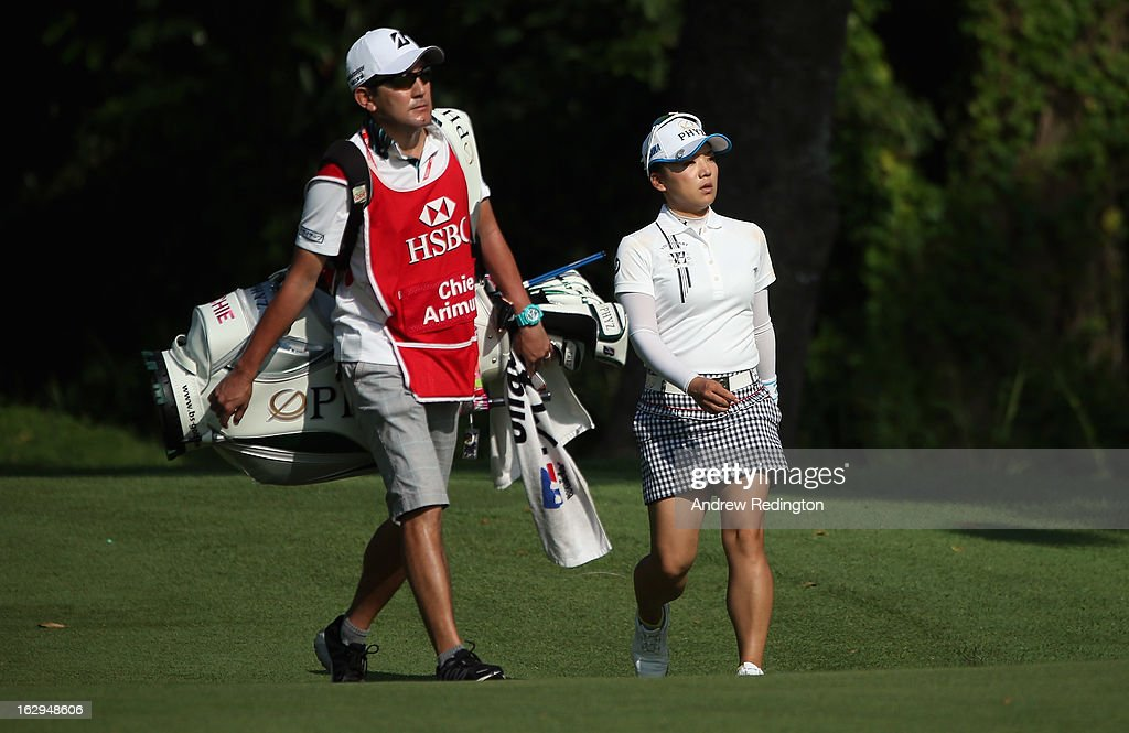 Chie Arimura of Japan in action during the third round of the HSBC Women's Champions at the Sentosa Golf Club on March 2, 2013 in Singapore, Singapore.