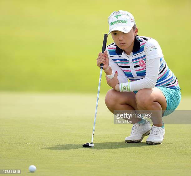 Chie Arimura of Japan lines up a putt for birdie on the 11th green during round one of the Manulife Financial LPGA Classic at the Grey Silo Golf...