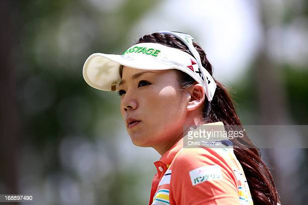 Chie Arimura of Japan looks on from the 12th green during round one of the Mobile Bay LPGA Classic at the Crossings Course at the Robert Trent Jones...