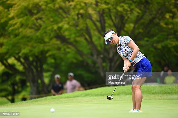 Chie Arimura of Japan putts during the third round of the Suntory Ladies Open at the Rokko Kokusai Golf Club on June 11 2016 in Kobe Japan