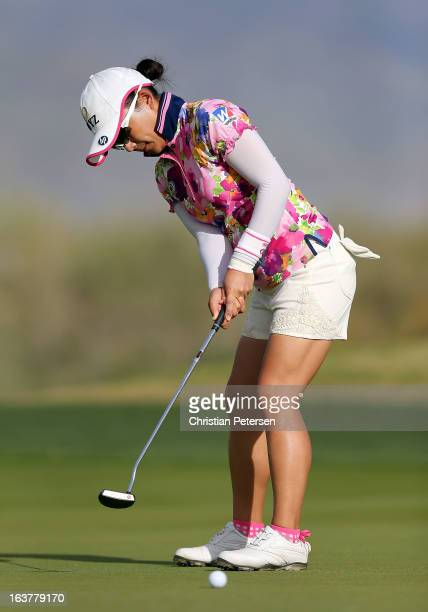Chie Arimura of Japan putts on the 16th hole green during the second round of the RR Donnelley LPGA Founders Cup at Wildfire Golf Club on March 15...