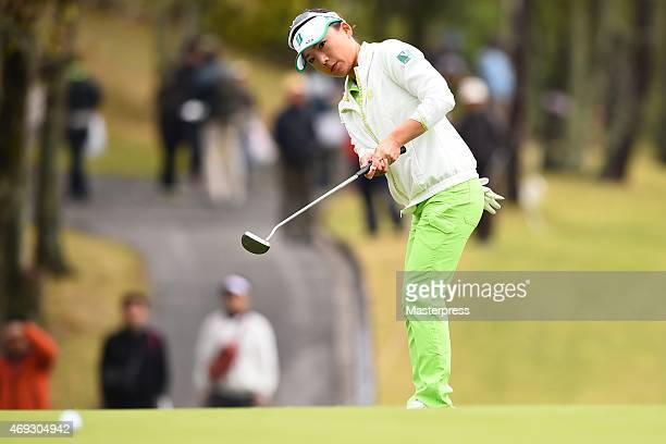 Chie Arimura of Japan putts on the 17th green in the second round of the Studio Alice Open at the Hanayashiki Golf Club Yokawa Course on April 11...