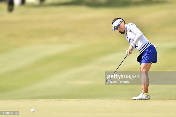 Chie Arimura of Japan putts on the 3rd green during the first round of the Daikin Orchid Ladies Golf Tournament at the Ryukyu Golf Club on March 3...