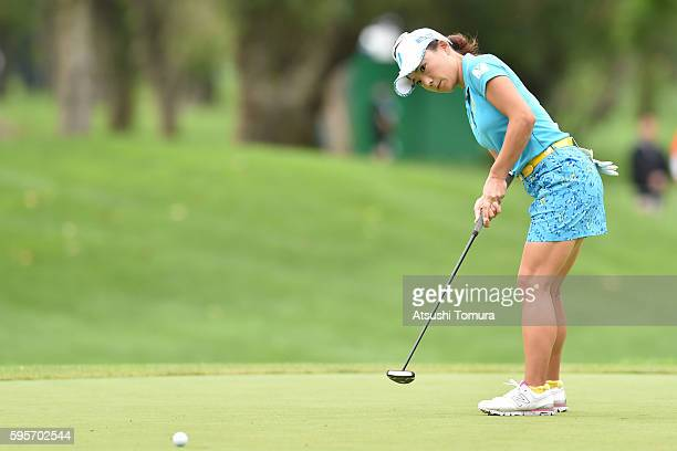 Chie Arimura of Japan putts on the 6th green during the second round of the Nitori Ladies 2016 at the Otaru Country Club on August 26 2016 in Otaru...