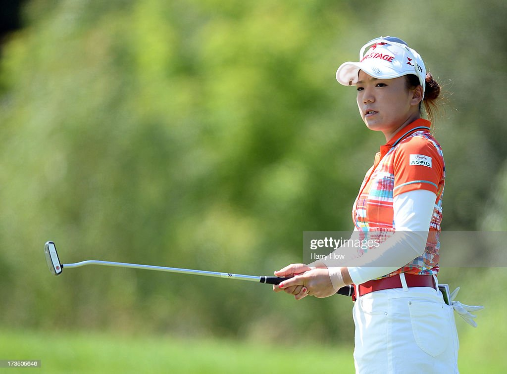 <a gi-track='captionPersonalityLinkClicked' href=/galleries/search?phrase=Chie+Arimura&family=editorial&specificpeople=4607395 ng-click='$event.stopPropagation()'>Chie Arimura</a> of Japan reacts to her putt on the third green during round two of the Manulife Financial LPGA Classic at the Grey Silo Golf Course on July 12, 2013 in Waterloo, Canada.