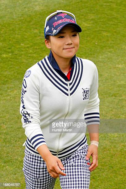 Chie Arimura of Japan smiles after finishing her round on the 18th hole during the third round of the Kingsmill Championship at Kingsmill Resort on...