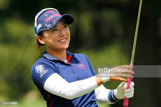 Chie Arimura of Japan smiles after hitting her third shot on the 17th hole during round three of the Marathon Classic presented by Owens Corning OI...