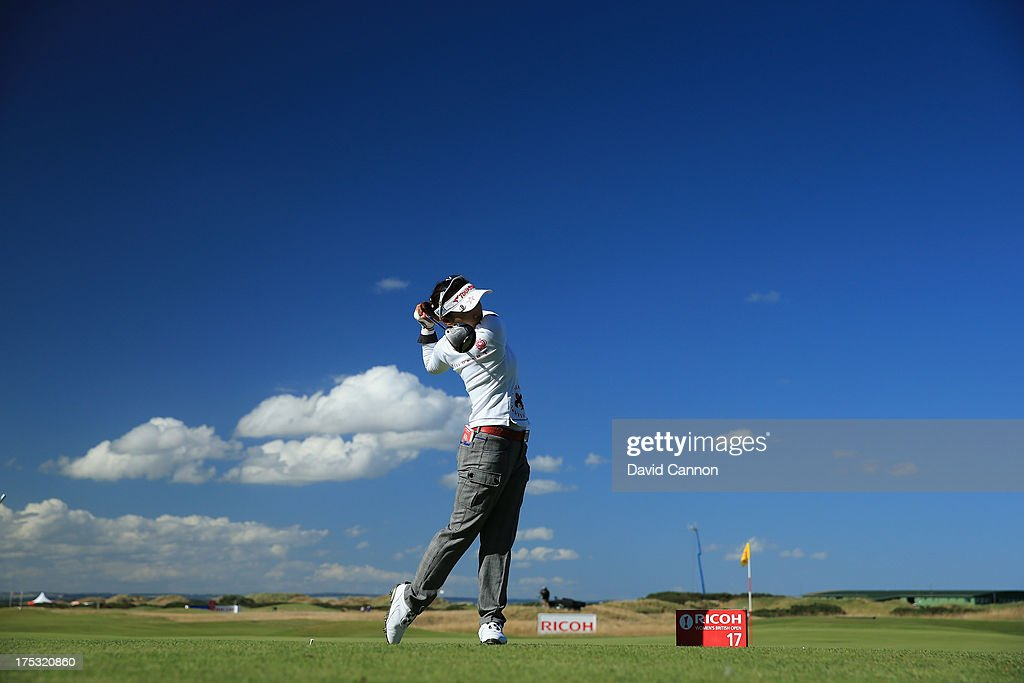 <a gi-track='captionPersonalityLinkClicked' href=/galleries/search?phrase=Chie+Arimura&family=editorial&specificpeople=4607395 ng-click='$event.stopPropagation()'>Chie Arimura</a> of Japan tees off on the 17th hole during the second round of the Ricoh Women's British Open at the Old Course, St Andrews on August 2, 2013 in St Andrews, Scotland.