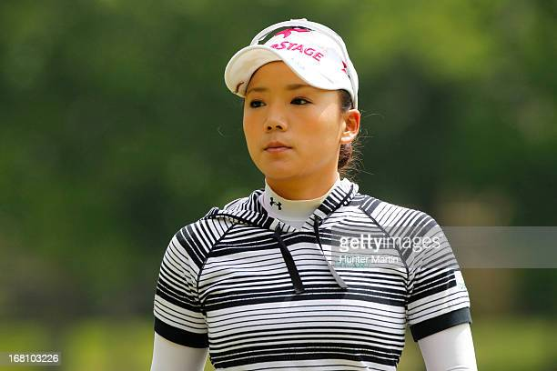 Chie Arimura of Japan walks off the green on the eighth hole during the final round of the Kingsmill Championship at Kingsmill Resort on May 5 2013...