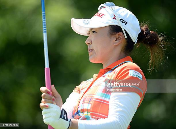 Chie Arimura of Japan watches her tee shot on the fourth hole during round two of the Manulife Financial LPGA Classic at the Grey Silo Golf Course on...
