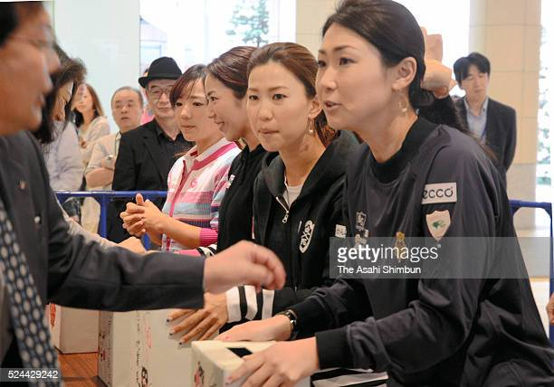 Chie Arimura Ritsuko Ryu Momoko Ueda and Miho Koga female professional golfers from Kumamoto Prefecture call for donation to send to the earthquake...