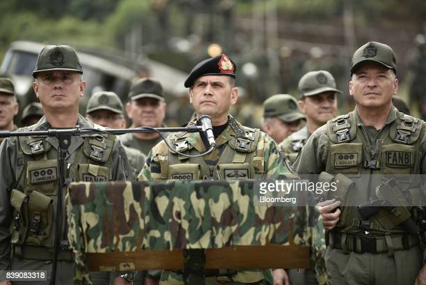 Chief Admiral Remigio Ceballos Ichaso commander of the strategic command operations of the Bolivarian National Armed Forces center pauses while...