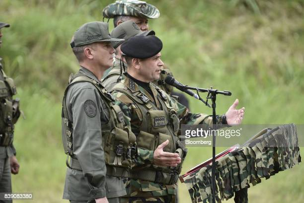 Chief Admiral Remigio Ceballos Ichaso commander of the strategic command operations of the Bolivarian National Armed Forces center speaks during a...