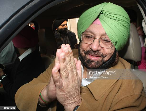 Chief and former CM of Punjab Capt Amarinder Singh after filing the nomination form as a Congress candidate from Patiala seat on January 10 2012 in...